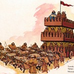 Achaemenian Persian Wheeled Siege Tower pulled by Armored Bulls