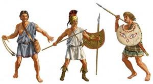 Frondes, javelots, arcs, des armes pour harceler
