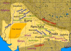 Inde védique, âge du fer. en noir, les tribus, en violet les tribus étrangères et en vert les shakhas védiques