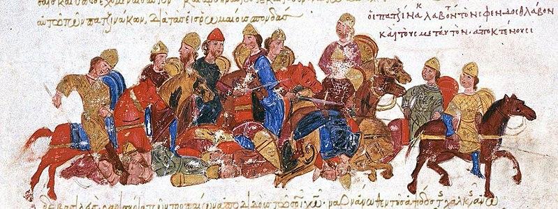 Les Scythes de Sviatoslav Ier de Kiev poursuivis par les Péchenègues. Entre XI° et XIII° siècles, détail du Madrid Skylitzes