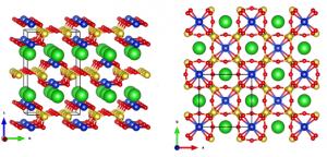 Structure chimique du Pourpre Han, vue depuis deux directions différentes. Schéma piqué ici.