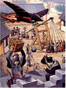 Trebuchet et armes à poudre, Chine XIIIe siècle