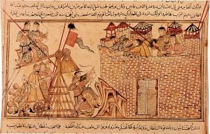 Enluminure illustrant les engins mongols utilisés au Levant, manuscrit de Rashid ad-Din's Jami al-Tawarikh aux alentours de 1307, Edinburgh University Library